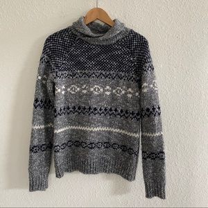 Zara Knitwear Winter Fuzzy Gray White Sweater S